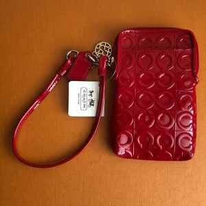 Red patent leather phone holder